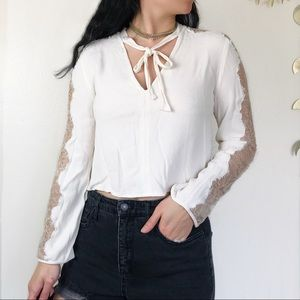 Free People V-Neck Tie Front Lace Sleeve Top